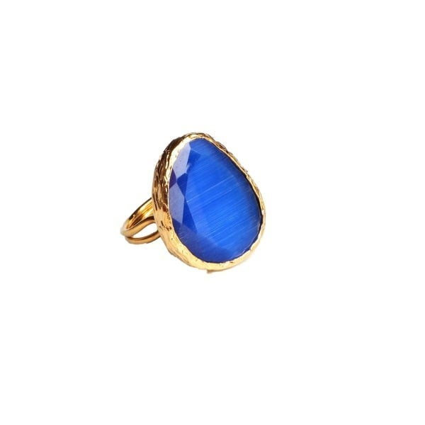 GLASS COCKTAIL RING - GOLD