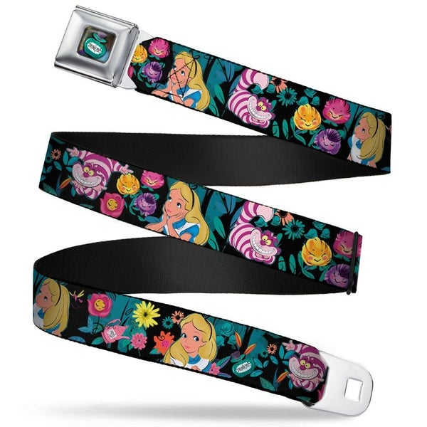 BUCKLE DOWN SEATBELT BELT - ALICE/CHESHIRE CAT/FLOWERS POSES BLACK/MULTI COLOR