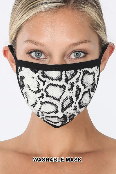 SNAKE PRINT WASHABLE FACE COVERING