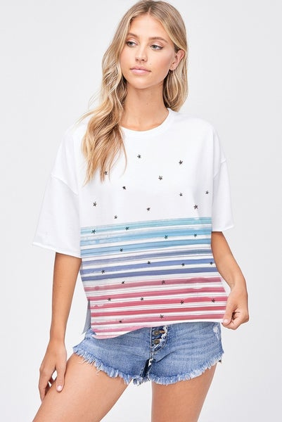 PHIL LOVE Strip with stars side slit short sleeve top