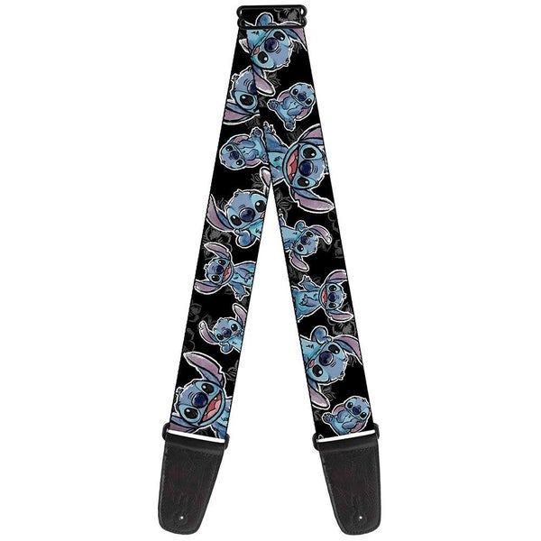 BUCKLE DOWN GUITAR STRAP - STITCH POSES HIBISCUS SKETCH BLACK GRAY BLUE