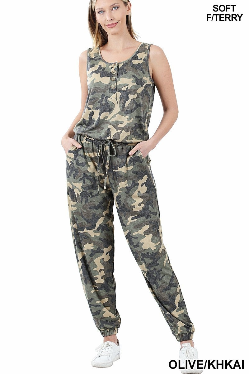 FRENCH TERRY CAMOUFLAGE SLEEVELESS JOGGER JUMPSUIT