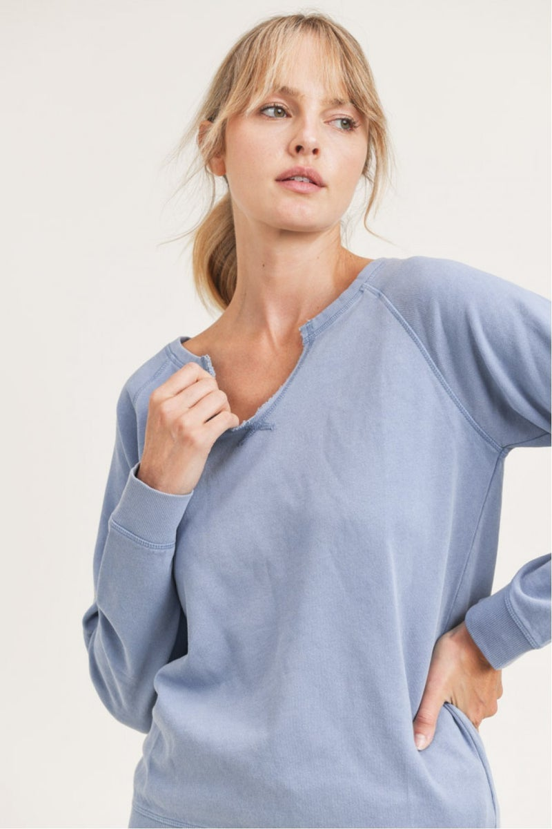 MONO B Mineral-Washed Raglan Pullover with Notched Neckline