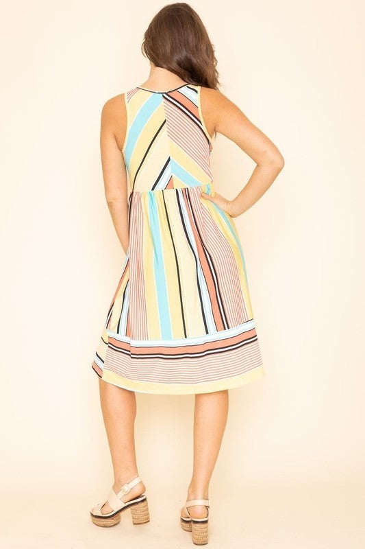 EG FASHION Multi Stripe Midi Dress