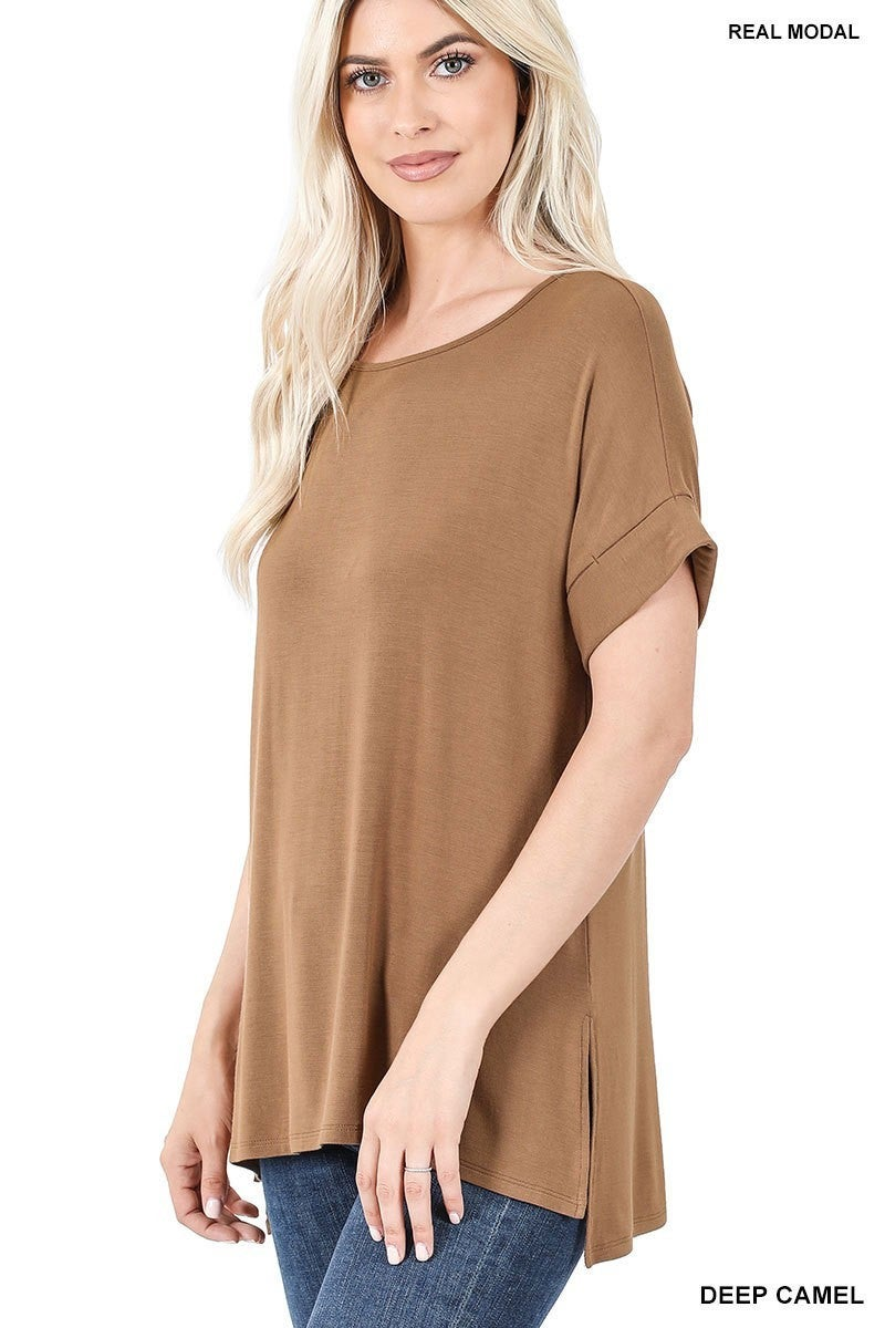 REAL MODAL SHORT SLEEVE BOAT NECK TOP