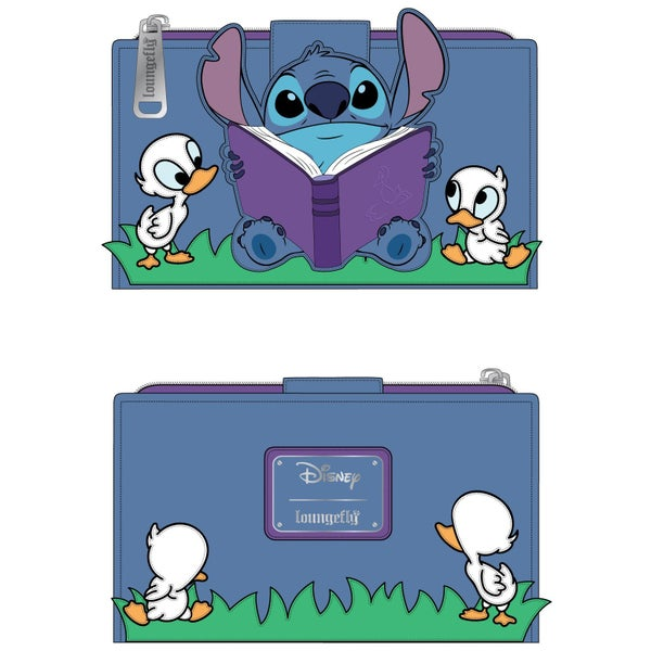 LOUNGEFLY DISNEY LILO AND STITCH STORY TIME DUCKIES FLAP WALLET (PRE-ORDER, JUNE 2021)