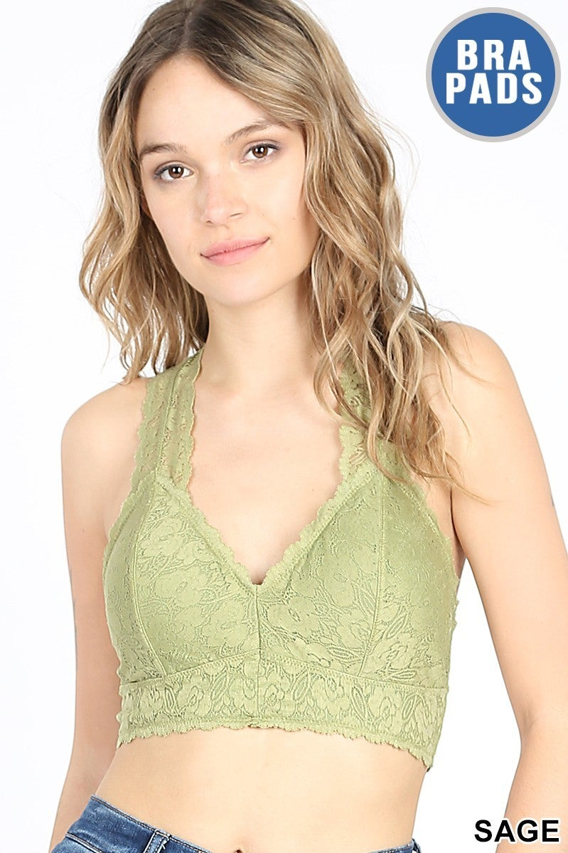 STRETCH LACE HOURGLASS BACK BRALETTE W/ REMOVABLE PADS