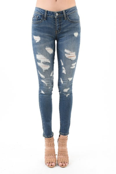 JUDY BLUE MONICA DESTROYED SKINNY DENIM - MEDIUM WASH