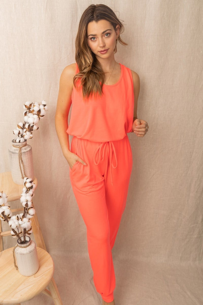 WHITE BIRCH Sleeveless Solid Knit Jumpsuit