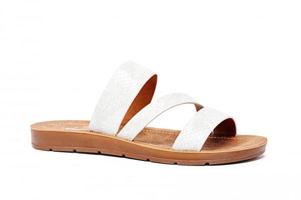 CORKYS LYDIA SANDALS - WHITE SNAKE