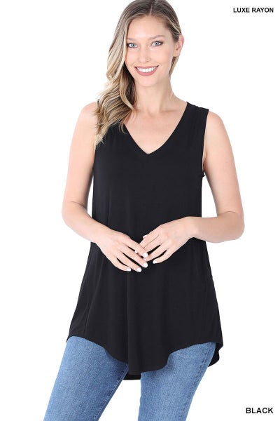 LUXE RAYON SLEEVELESS V-NECK HI-LOW HEM TOP