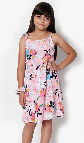 GIRLS Summer Dress w/ Floral Print and Bow Strap
