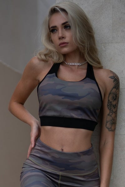 YELETE Active On My Radar Camo Sports Bra