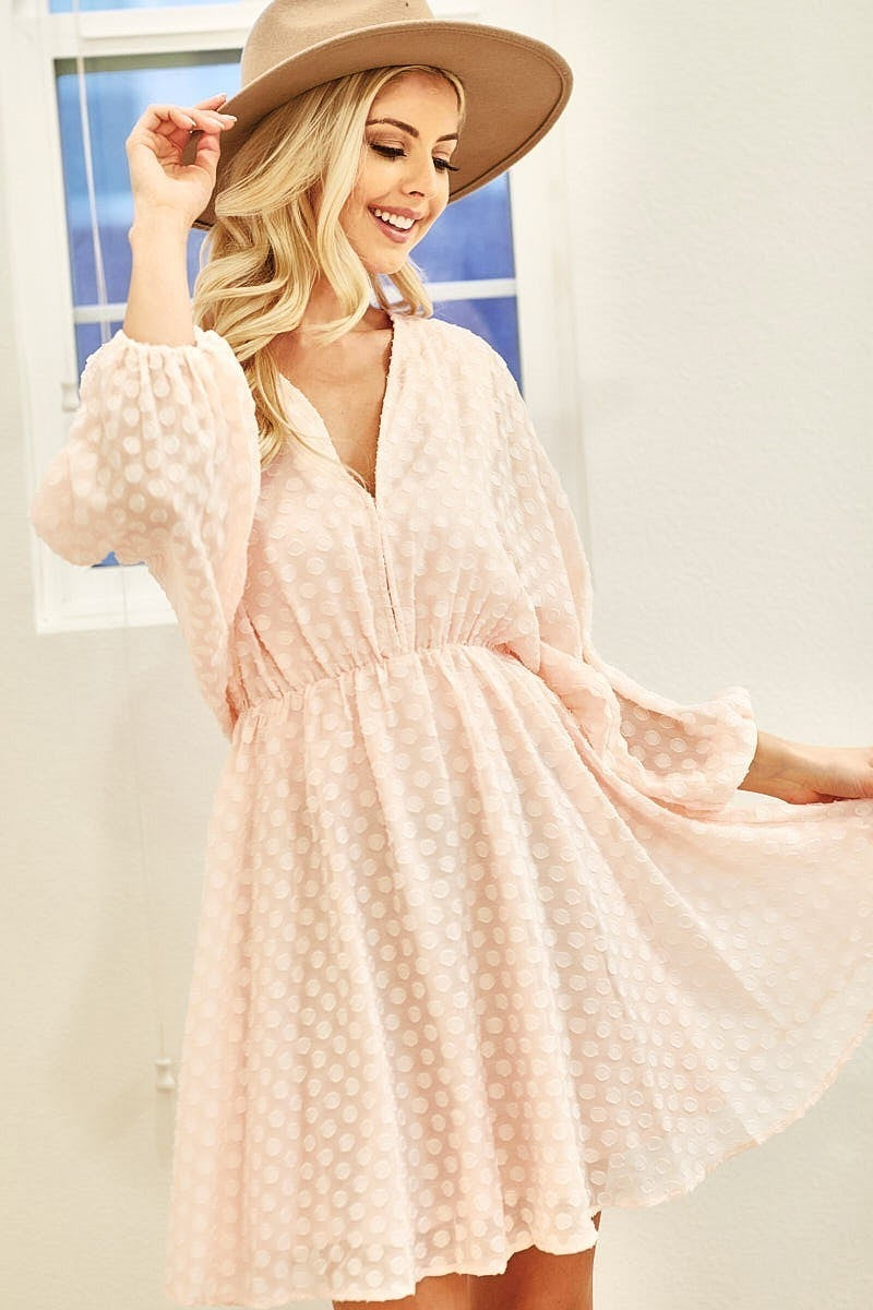 CLIP DOT WOVEN JACQUARD DRESS WITH BALLOON SLEEVES