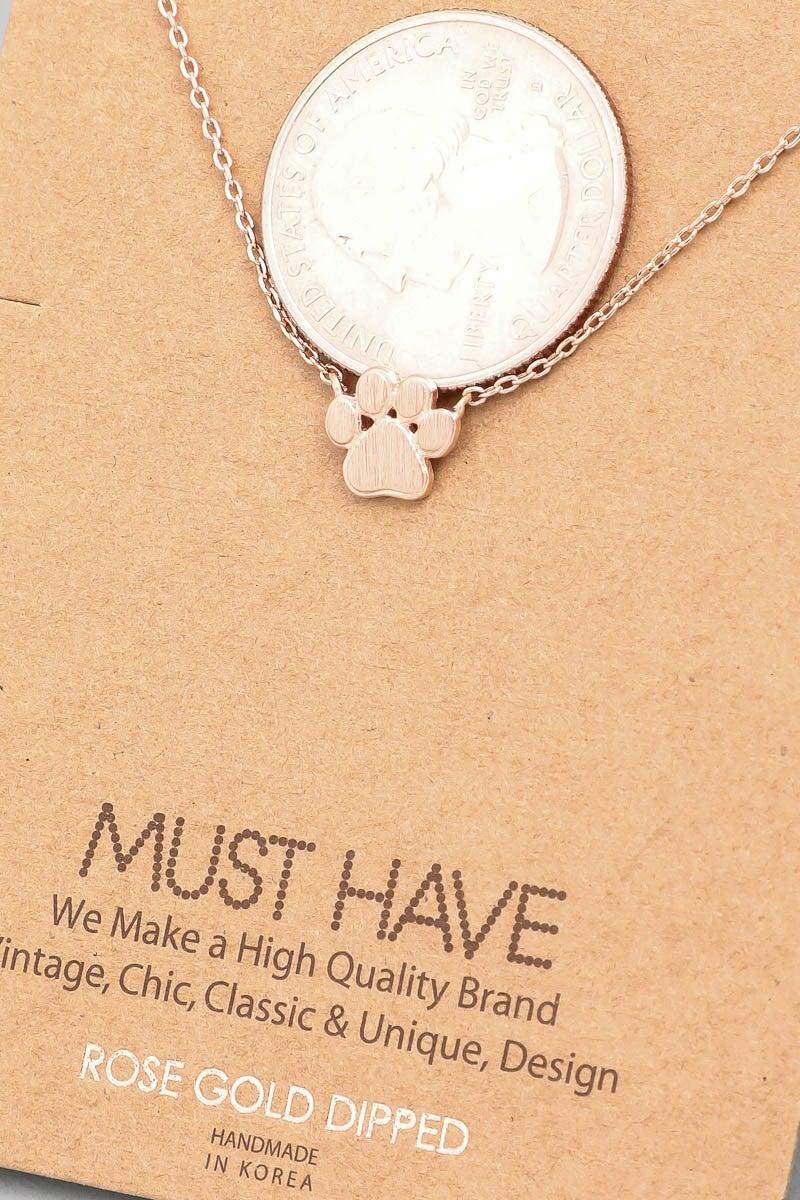 Mini DOG Paw Print Charm Necklace