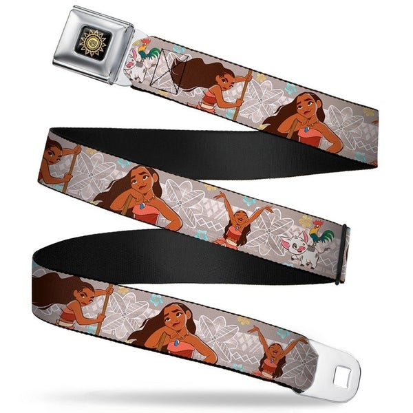 BUCKLE DOWN SEATBELT BELT - MOANA 3-POSES/PIG & ROOSTER/FLOWERS TRIBAL TANS/WHITE