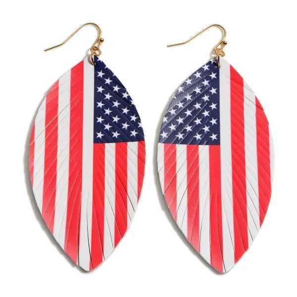 Feathered Leather Earrings Featuring a USA Flag Pattern