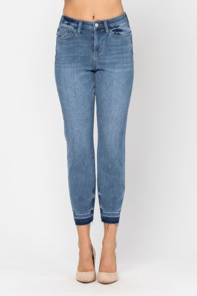 JUDY BLUE THERMADENIM THERMAL UNDONE HEM BOYFRIEND JEANS