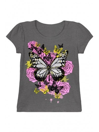 Girl's Graphic Tee w/ Butterflies and Roses Print