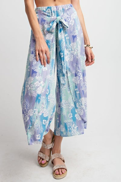 LIGHT SUMMER PRINTED WAIST TIE WRAP CROPPED PANTS