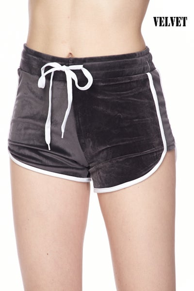 Velvet Drawstring Dolphin Shorts w/ Side Stripes