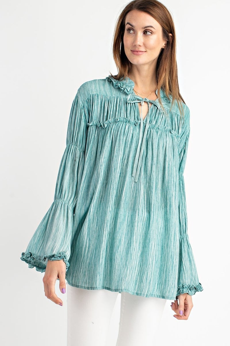 WASHED PLEATED BLOUSE