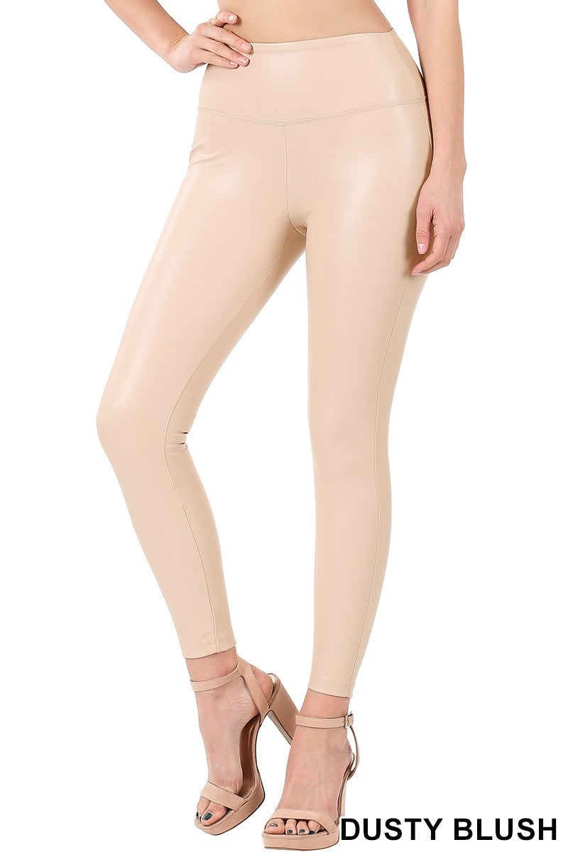 FAUX LEATHER LEGGINGS WITH WAIST BAND