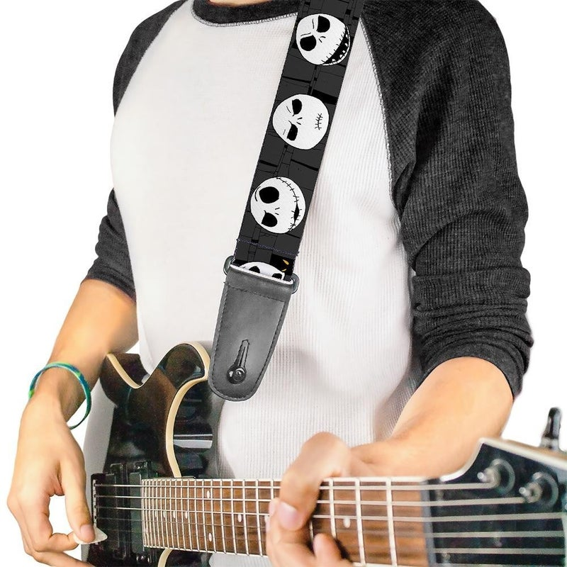 BUCKLE DOWN GUITAR STRAP - NIGHTMARE BEFORE CHRISTMAS JACK EXPRESSIONS GRAY