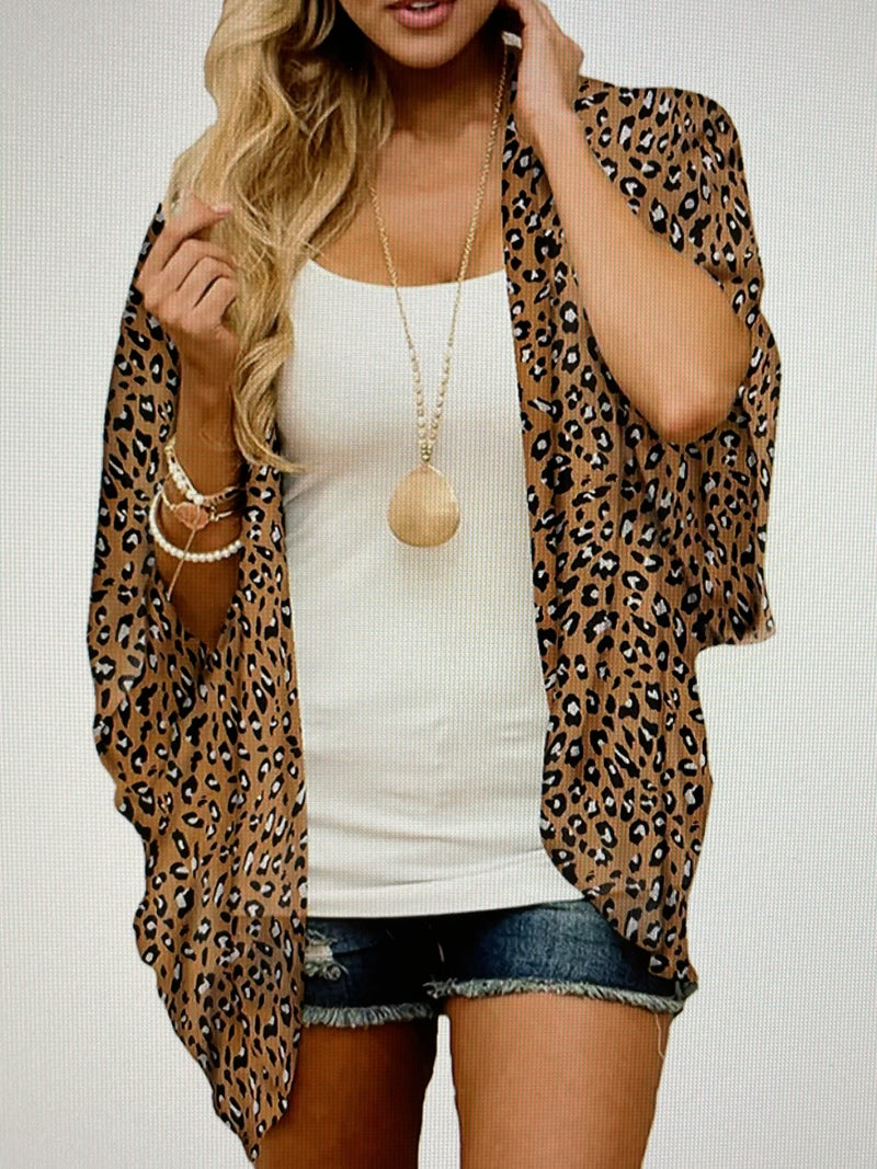 LEOPARD PRINT CHIFFON BEACH COVER UP