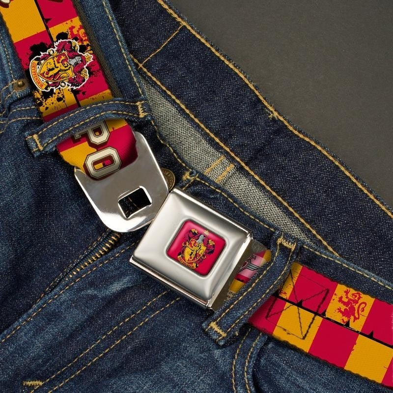 BUCKLE DOWN SEATBELT BELT - GRYFFINDOR CREST HARRY POTTER 07 CHECKER GOLD/RED
