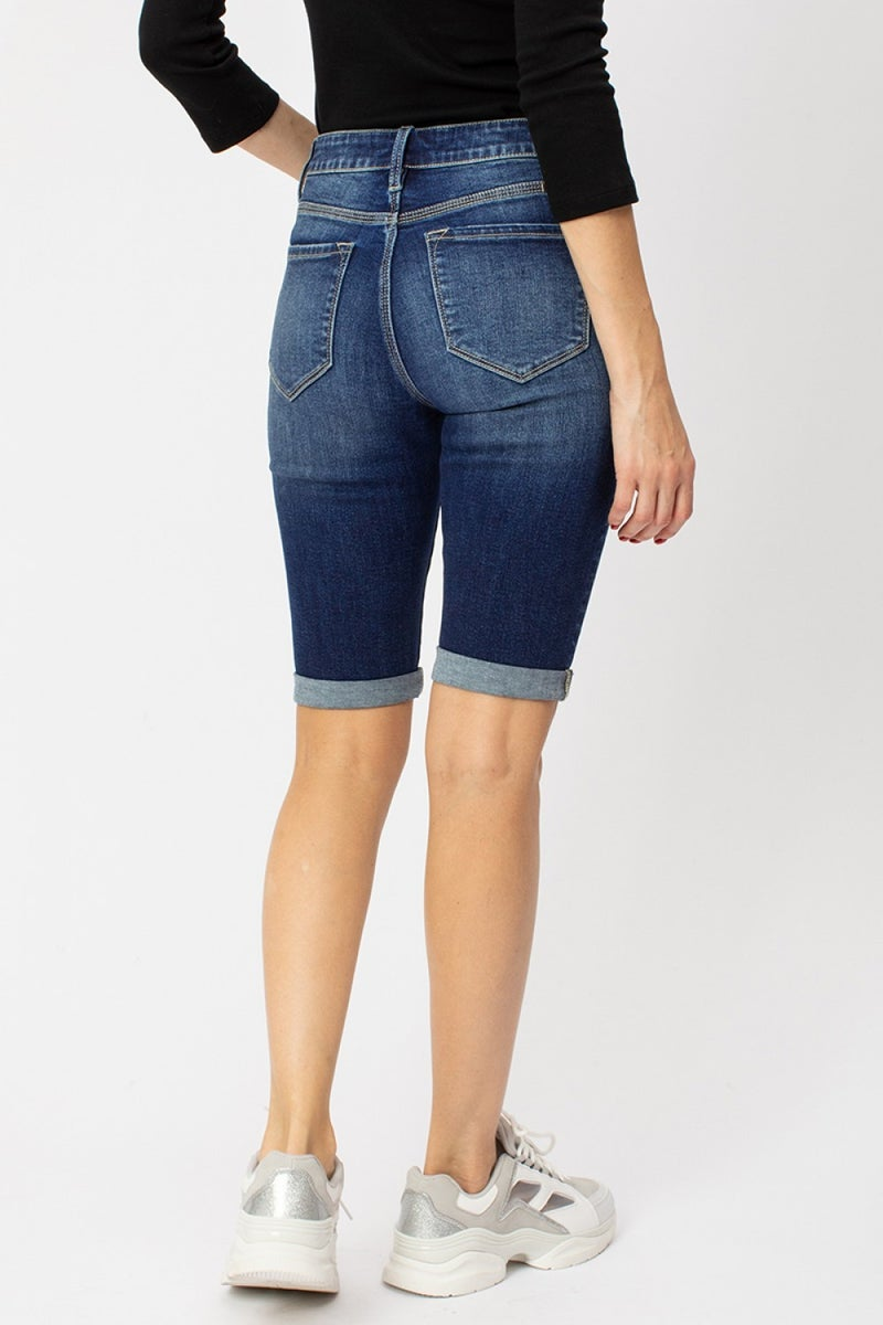 KANCAN HIGH RISE BUTTON FLY BERMUDA DENIM SHORTS
