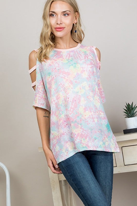 PASTEL RAINBOW TIE DYE WITH TWO STRAPS TOP