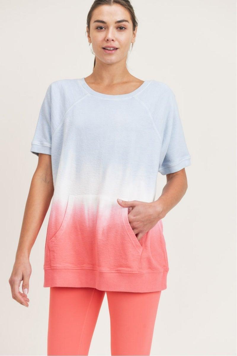 MONO B Popsicle Dip-Dye Raglan Cotton Terry Top