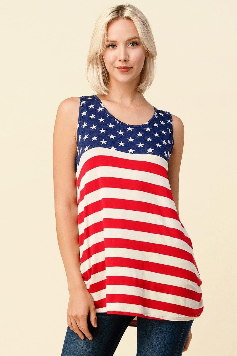 AMERICAN FLAG PRINT SLEEVELESS TOP