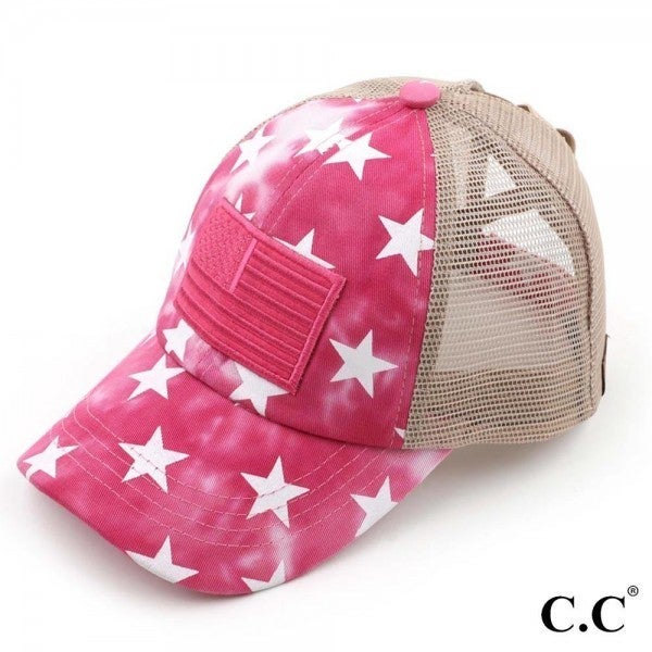 CC BRAND Criss Cross Pony Cap with Mesh Back Featuring Stars & American Flag