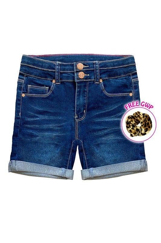 Girl's Yummy Wash Denim  Mid- length Shorts