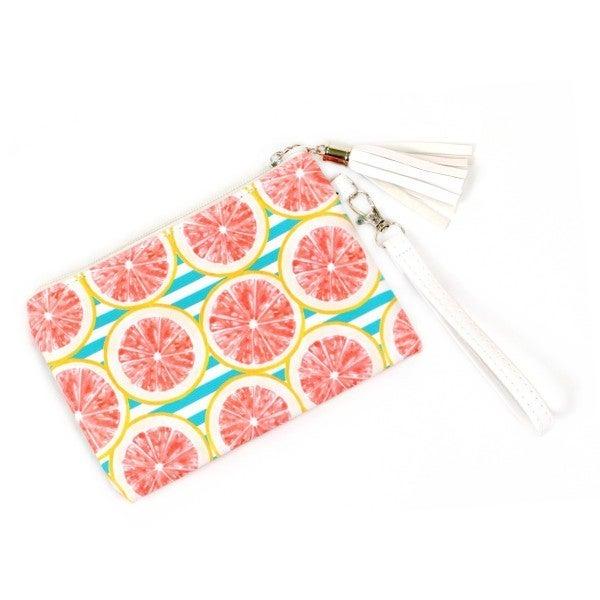Grapefruit Print Wristlet Tassel Pouch