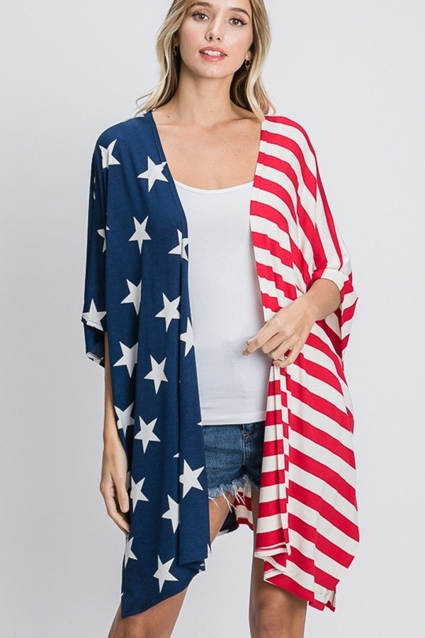 STAR AND STRIPE OPEN CARDIGAN