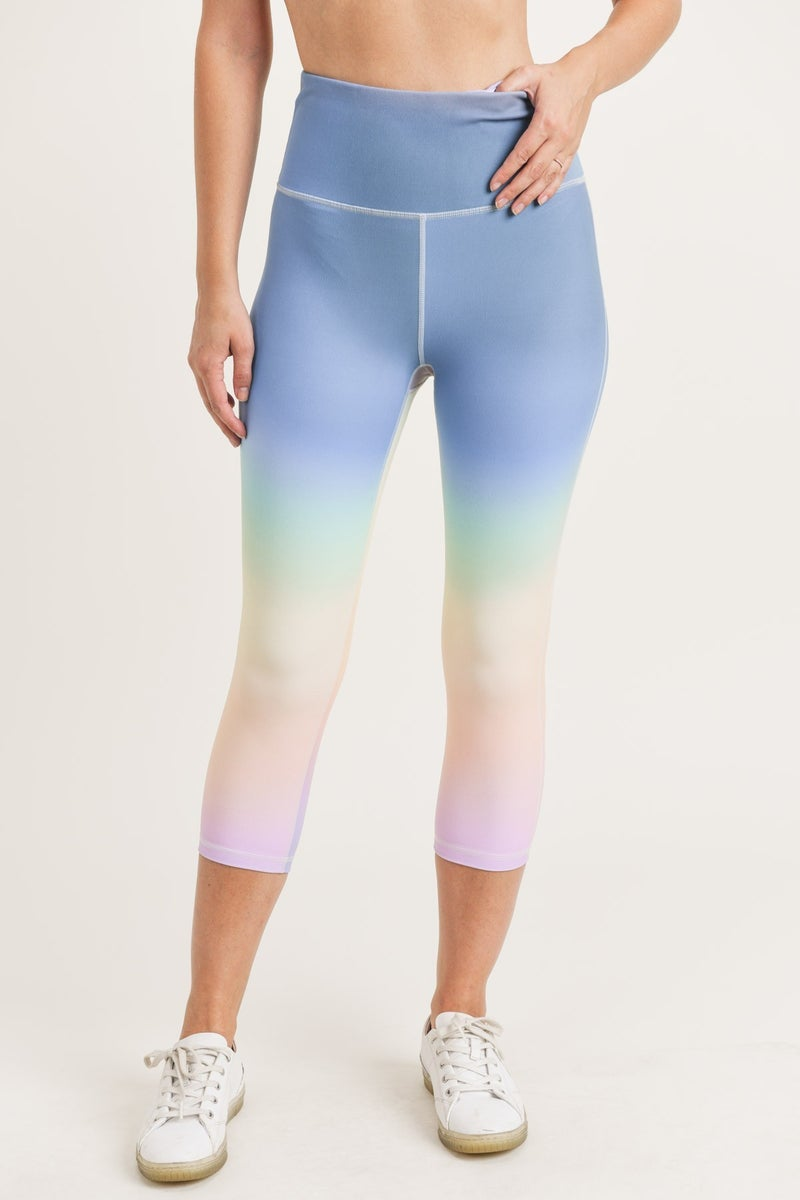 MONO B Rainbow Pastel Highwaist Capri Leggings