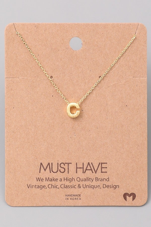 Gold or Silver Initial Pendant Necklace
