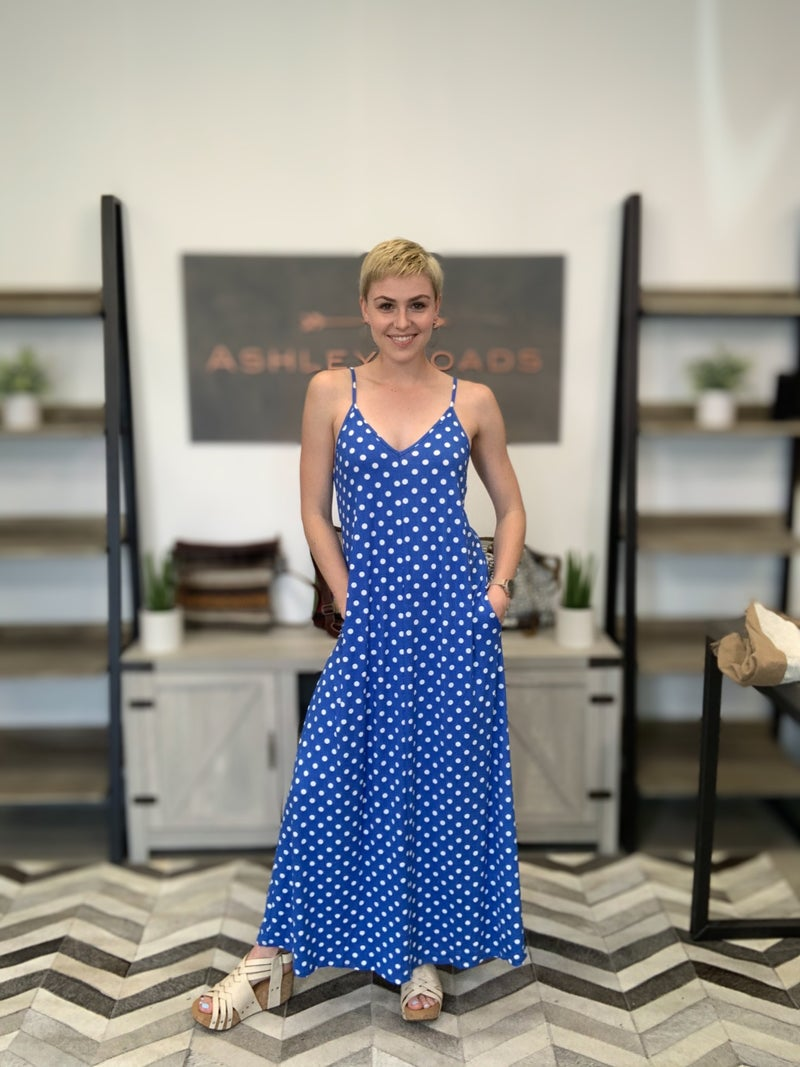 POLKA DOT SPAGHETTI STRAP MAXI LONG DRESS
