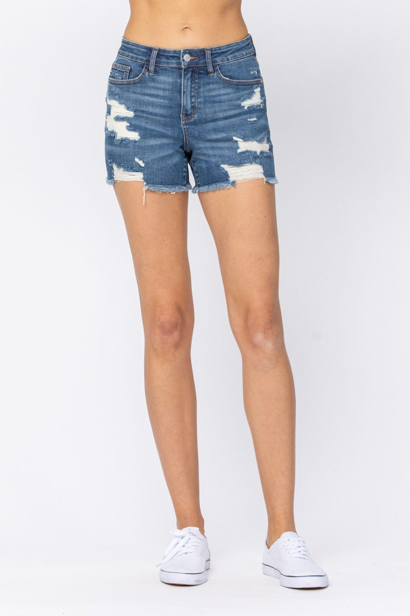 JUDY BLUE MID-RISE DESTROYED CUT-OFF SHORTS