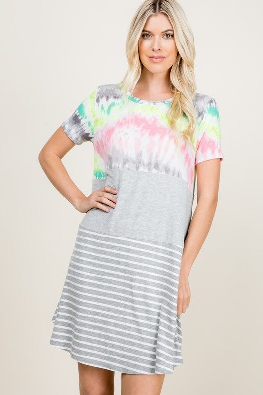 PARTIALLY TIE DYE AND STRIPED SHORT SLEEVE DRESS