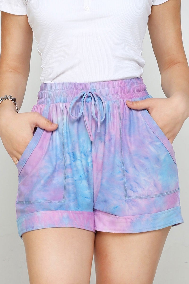 TIEDYE PRINT SHORTS WITH DRAWSTIRNG
