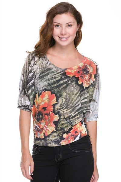 Hacci Sublimation 3/4 Sleeve Top with Banded Bottom