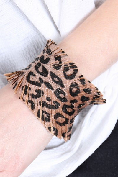 LEATHER LEOPARD FRINGE BRACELET