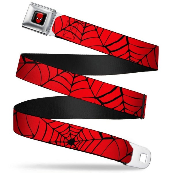BUCKLE DOWN SEATBELT BELT - SPIDERWEB RED/BLACK