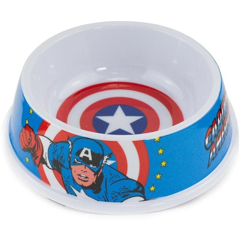 BUCKLE DOWN PET BOWL - CAPTAIN AMERICA SHIELD + CAPTAIN AMERICA ACTION POSE BLUE RED WHITE