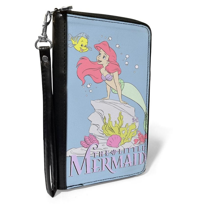 BUCKLE DOWN ZIP AROUND WALLET - THE LITTLE MERMAID FLOUNDER AND ARIEL POSE BLUE