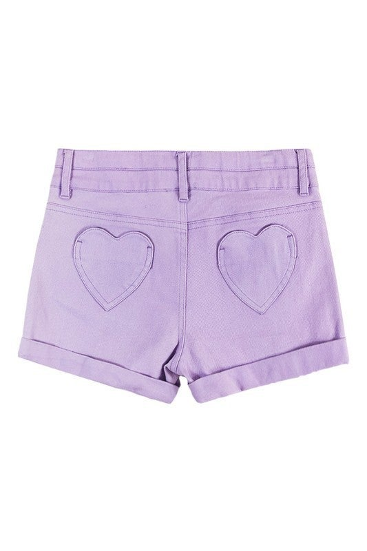 GIRLS Heart Back Pocket Denim Shorts